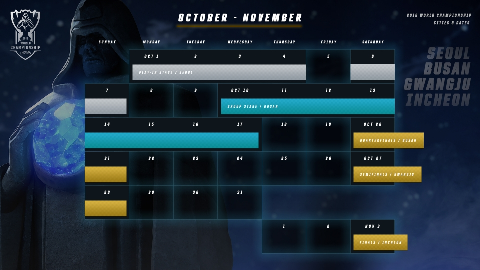 League of Legends Worlds Championship 2018 schedule
